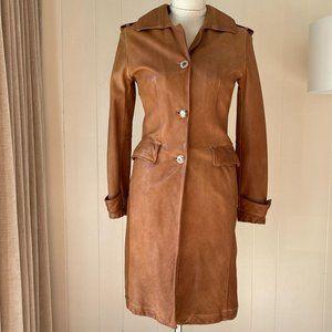 Giorgio Brato Leather Trench Style Coat Sz 40
